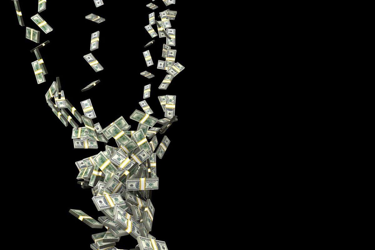 一堆鈔票飛走示意圖